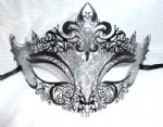 Venetian Style Black  & Silver Metal Filigree Half Mask 1